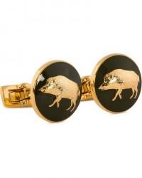 Skultuna Cuff Links Hunter Wild Boar Gold/Green