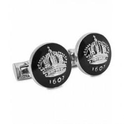 Skultuna Cuff Links The Crown Silver/Baroque Black