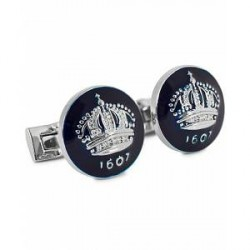 Skultuna Cuff Links The Crown Silver/Royal Blue
