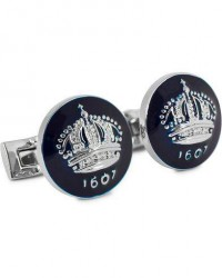 Skultuna Cuff Links The Crown Silver/Royal Blue men One size Blå
