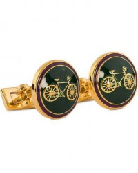 Skultuna Cuff Links Themocracy Gold/Racing Green men One size Grøn