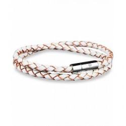 Skultuna Two Row Leather Bracelet White Silver
