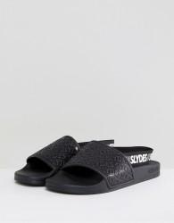 Slydes Roamer Logo Strap Sliders In Black - Black
