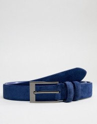 Smith And Canova Skinny Suede Belt - Blue