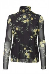 Soaked In Luxury - Bluse - Vivianna LS Rose Tee - Black With Roses