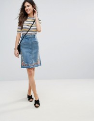 Soaked In Luxury Embroidered Denim Pencil Skirt - Blue