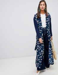 Soaked In Luxury Floral Kimono With Contrast Sleeves - Blue