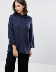 Soaked In Luxury High Neck Jumper With 3/4 Sleeves - Navy