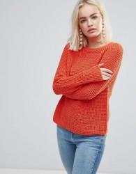 Soaked In Luxury Open Knit Jumper - Orange