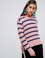 Soaked In Luxury Stripe Jumper With Tie Side - Pink