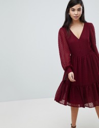 Soaked In Luxury Textured Dot Tiered Dress - Red