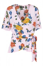 Soaked In Luxury - Top - Fanny Wrap Top - Orchid Pink Floral