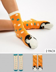 Sock Shop 2 Pack Penguin Cosy Socks - Orange