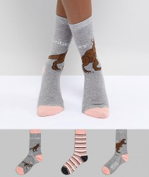 Sock Shop Hangry Sock 3 Pack - Multi