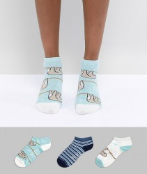 Sock Shop Sloth Trainer Sock 3 Pack - Multi