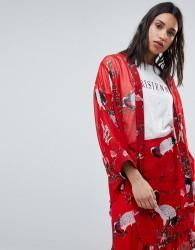 Sofie Schnoor exotic bird print kimono - Red