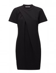 Soft French Terry S/S Dress W/ Asymmetric Drape