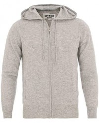 Soft Goat Cashmere Full Zip Hoodie Light Grey men XXL Grå