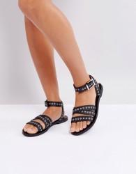 Sol Sana Clash Black Leather Eyelet Sandals - Black