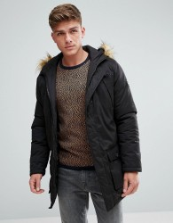 Solid Arctic Parka With Faux Fur Lined Hood - Black
