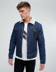 Solid Denim Jacket With Borg Collar - Blue