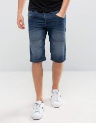 Solid Denim Shorts In Mid Wash Blue - Blue