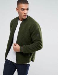 Solid Jacket In Teddy Yarn - Green