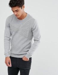 Solid Jumper In Rib Texture - Grey