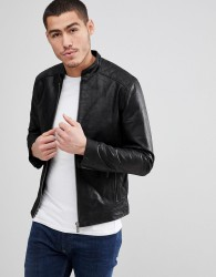 Solid Leather Jacket With Quilting - Black
