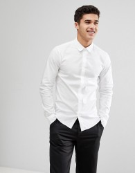 Solid Shirt White Shirt In Regular Fit - White