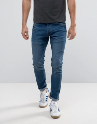 Solid Slim Fit Jeans In Mid Blue Wash With Stretch - Black