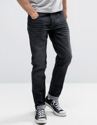 Solid Slim Fit Jeans In Washed Black With Stretch - Blue