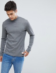 Solid Slim Fit Long Sleeve T-Shirt With High Neck - Black