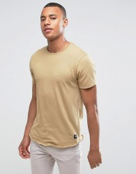 Solid T-Shirt In Curved Hem With Raglan Sleeve - Beige