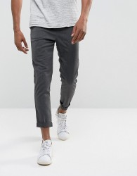 Solid Tapered Trousers In Grey - Grey