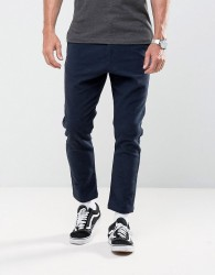Solid Tapered Trousers - Navy