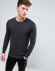 Solid Textured Knit Jumper In Dark Grey - Navy