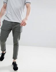 Solid Utility Trousers In Dark Khaki - Green