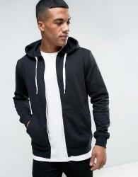 Solid Zip Up Hoodie In Black - Black
