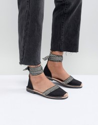 Solillas Black Leather Ankle Tie Menorcan Sandals - Black