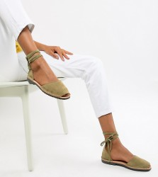 Solillas Exclusive Khaki Suede Ankle Tie Menorcan Sandals - Green