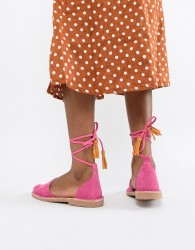 Solillas Pink Suede Ankle Tie Menorcan Sandals - Pink