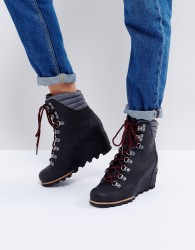 Sorel Conquest Black Wedge Lace Up Boots - Black