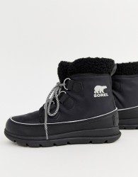 Sorel Explorer Carnival Waterproof Black Nylon Boots With Microfleece Lining - Black