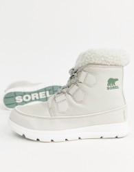 Sorel Explorer Carnival Waterproof Nylon Boots With Microfleece Lining - White