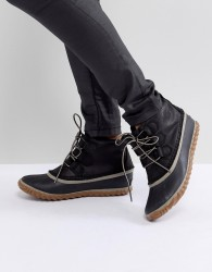 Sorel Out N About Black Leather Waterproof Flat Boots - Black