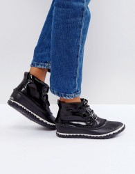 Sorel Out 'N About Black Waterproof Patent Leather Boots - Black