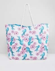 South Beach Cactus and Rose Print Beach Bag With Rope Handle - Multi