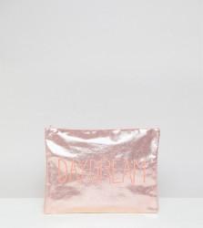 South Beach Daydream Metallic Pink Zip Top Pouch - Pink