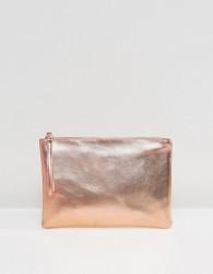 South Beach Rose Gold Metallic Clutch Bag - Gold